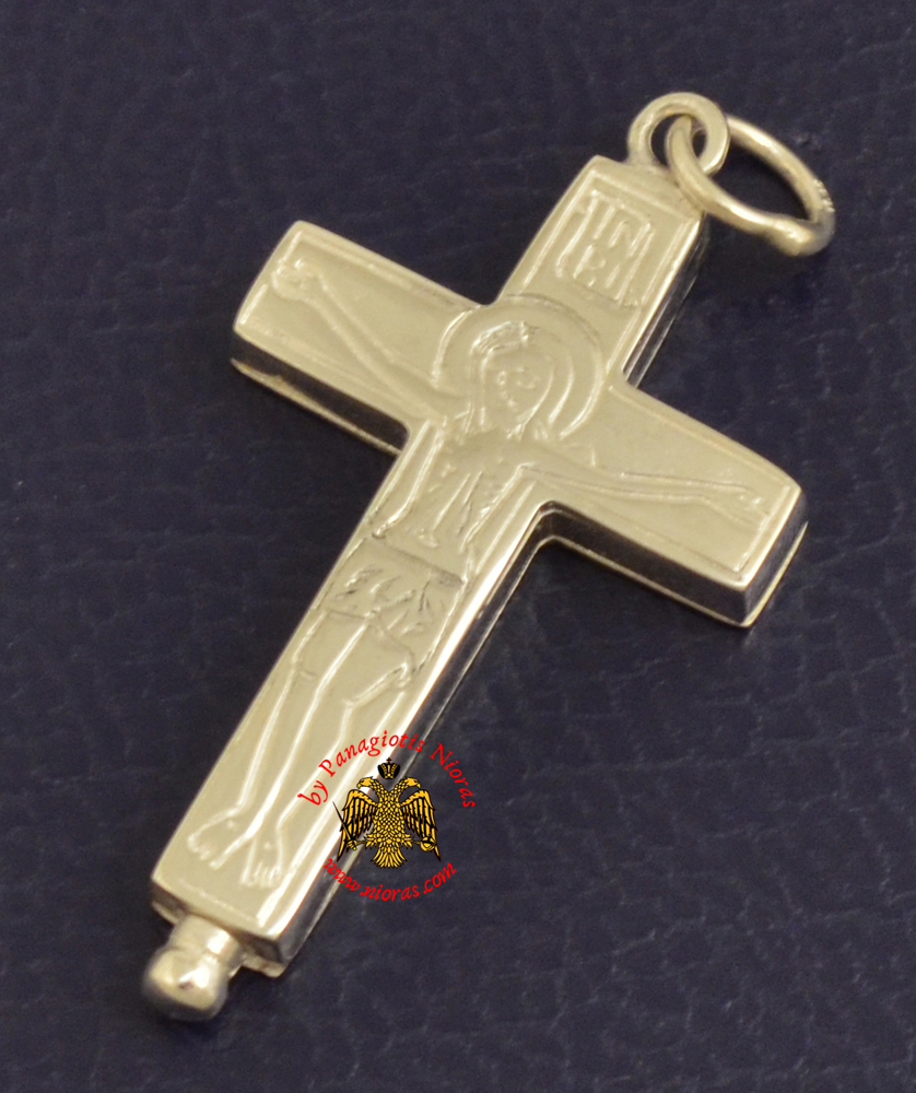 Byzantine Orthodox Cross Silver 925 Christ and Theotokos Design for the Neck
