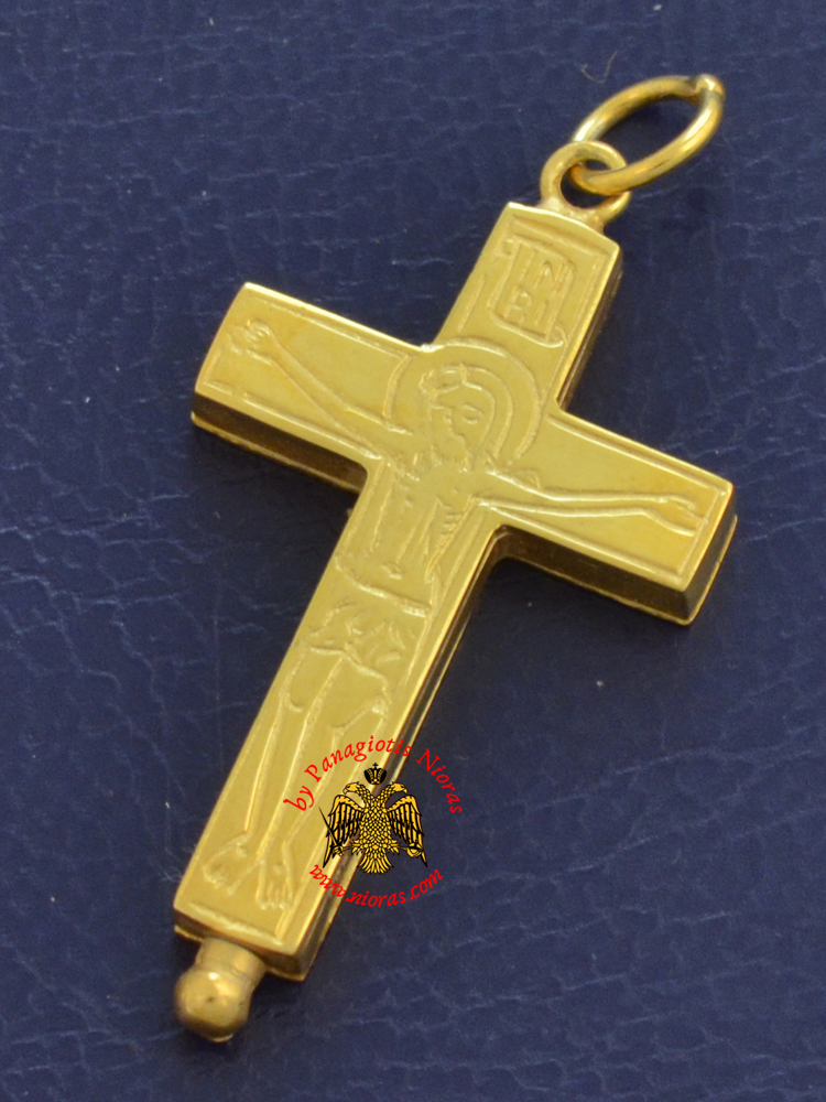 Byzantine Orthodox Cross Silver 925 Christ and Theotokos Design Gold Plated for the Neck