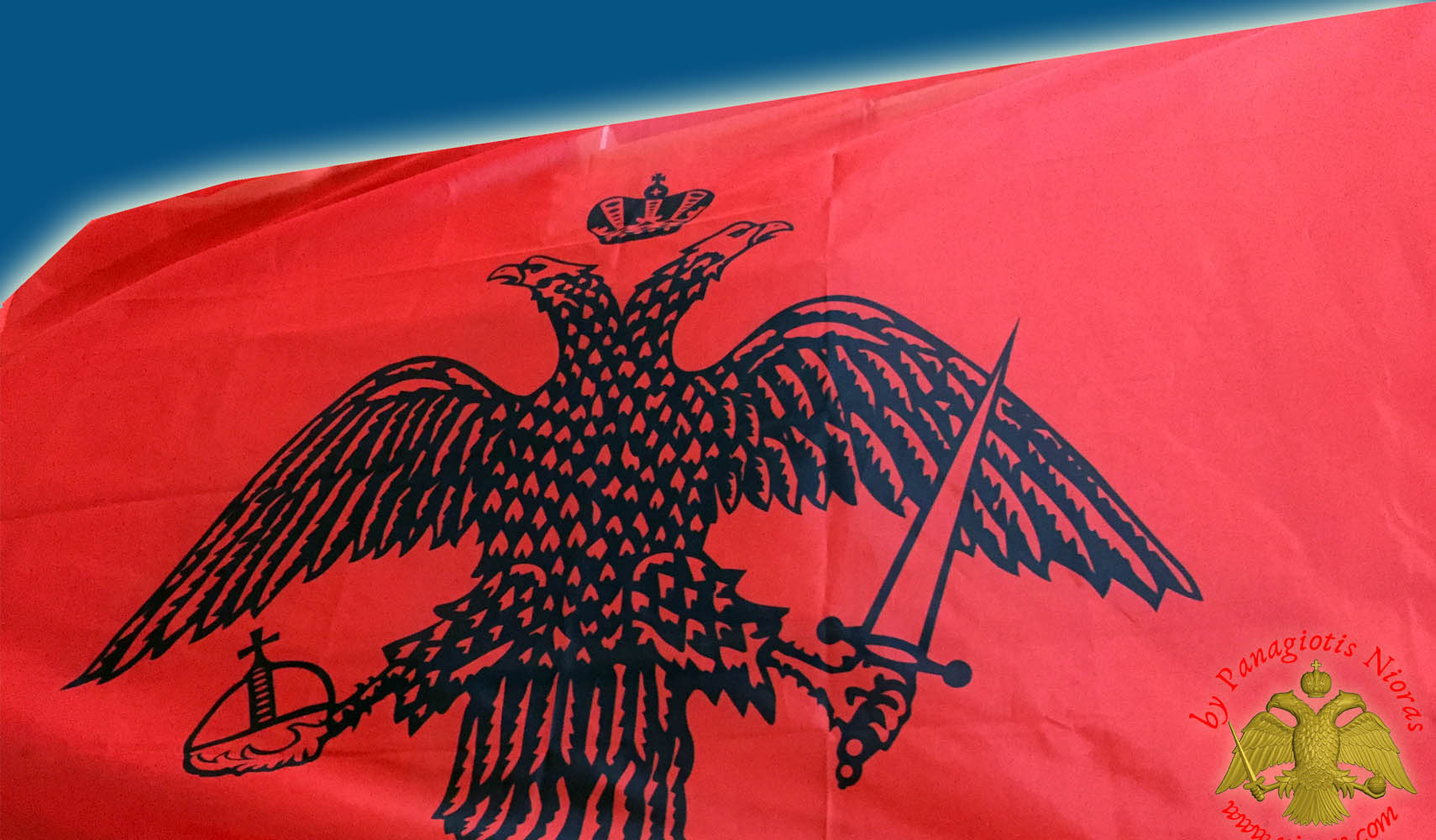 Flag Greek Byzantine Eagle Red War