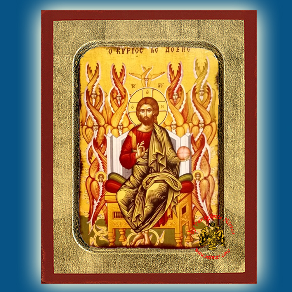 Christ Blessing Lord of Glory Enthroned Byzantine Wooden Icon