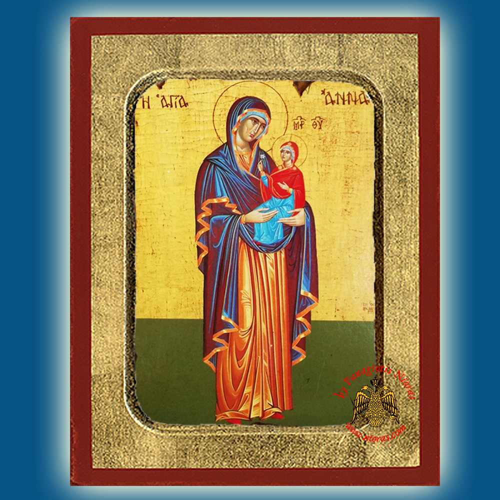 Saint Anna the Mother of Theotokos Full Figure Byzantine Wooden Icon