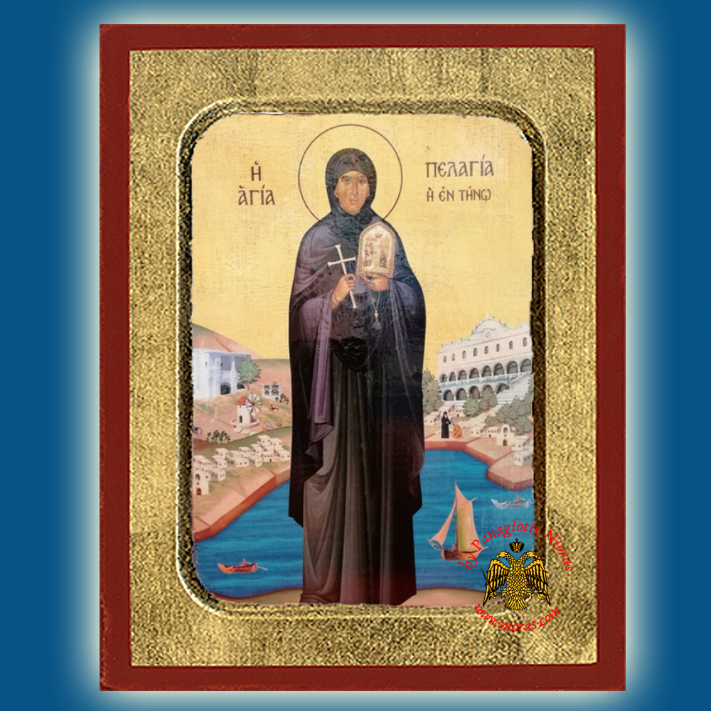 Saint Pelagia Of Tinos Full Figure wooden byzantine icon