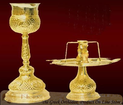 Communion Set Chalice Byzantine Style Design With Saints C'