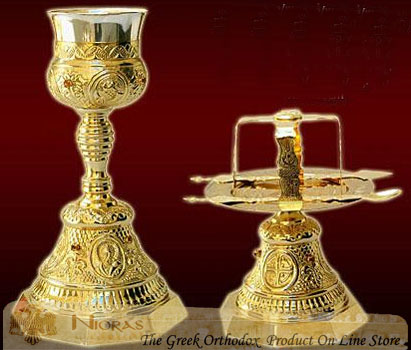 Chalice Set Russian Style Design B' Gold Plated