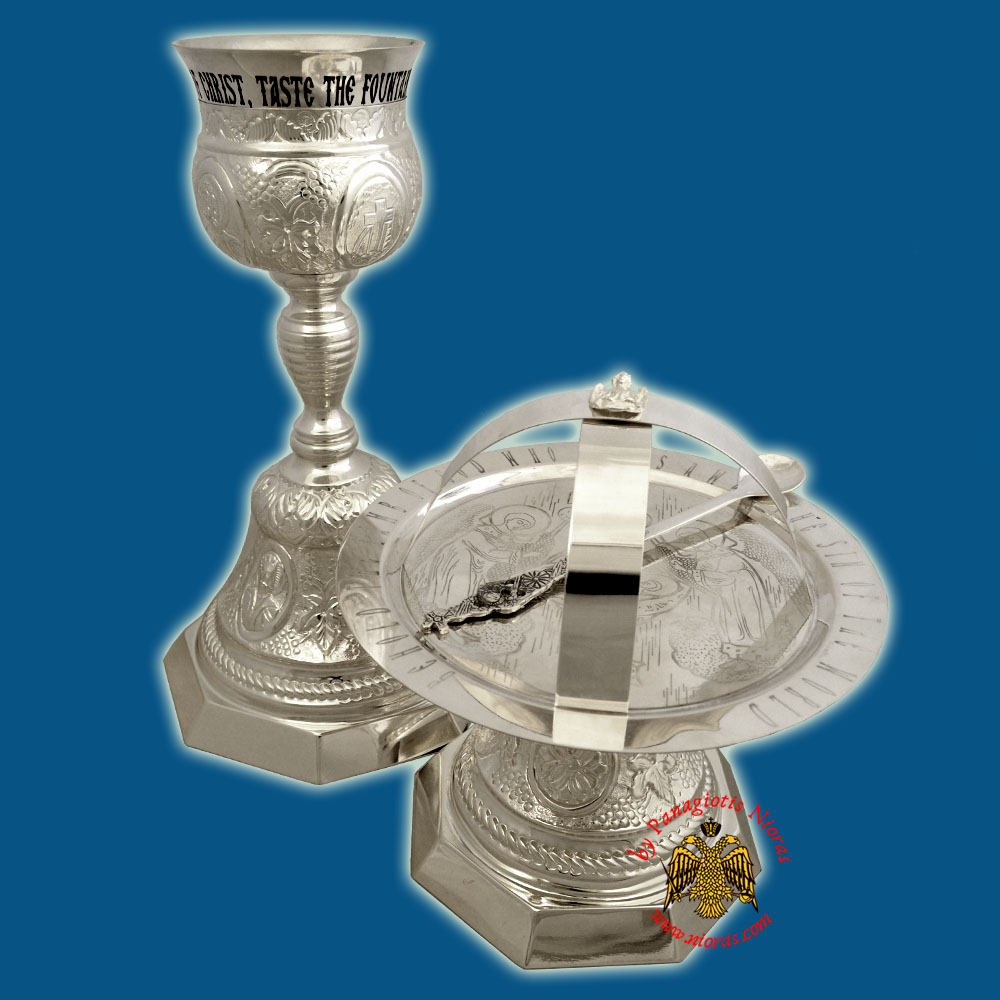 Chalice Set Russian Style Hexagon Base with Evangelists Figures Silver 925 Made in Greece