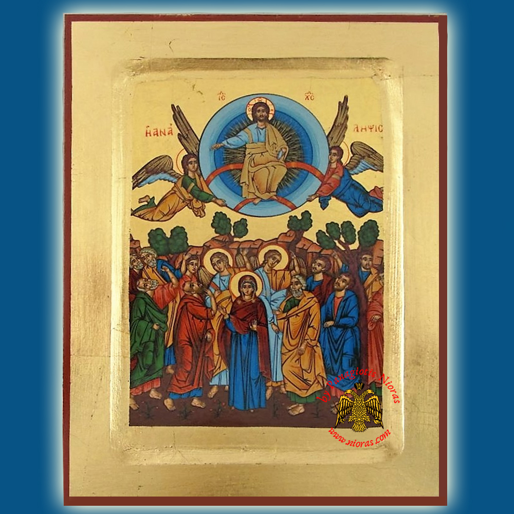 Christ Ascension Byzantine Wooden Icon on Canvas