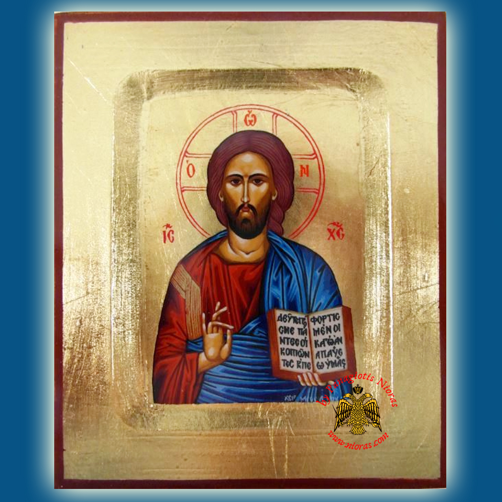 Christ Blessing Wooden Byzantine Icon on Canvas