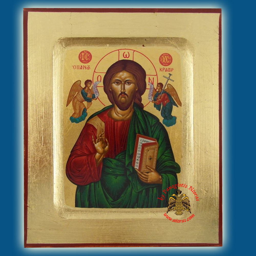 Christ Great High Priest Byzantine Wooden Icon on Canvas