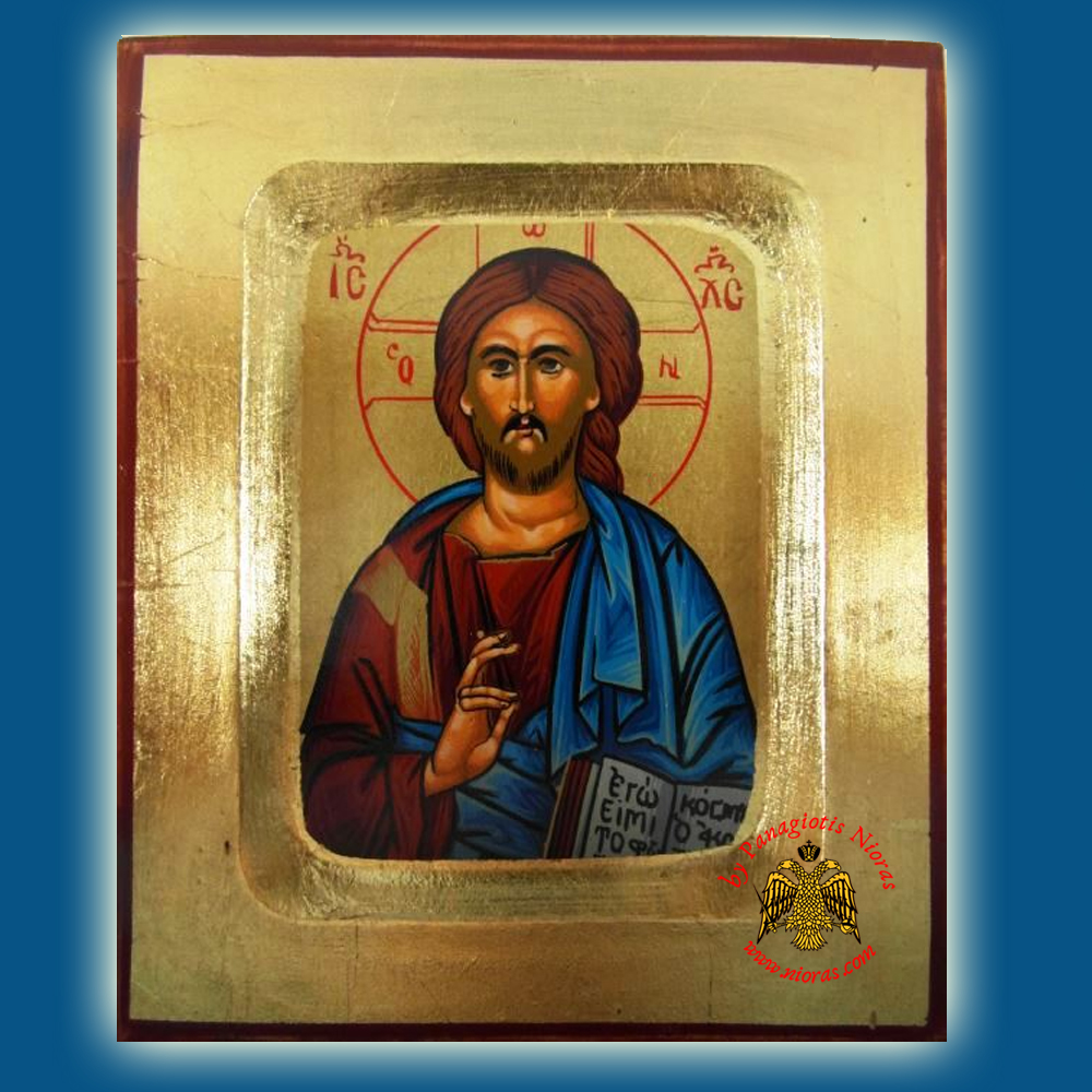 Christ The Light Giver Byzantine Wooden Icon on Canvas