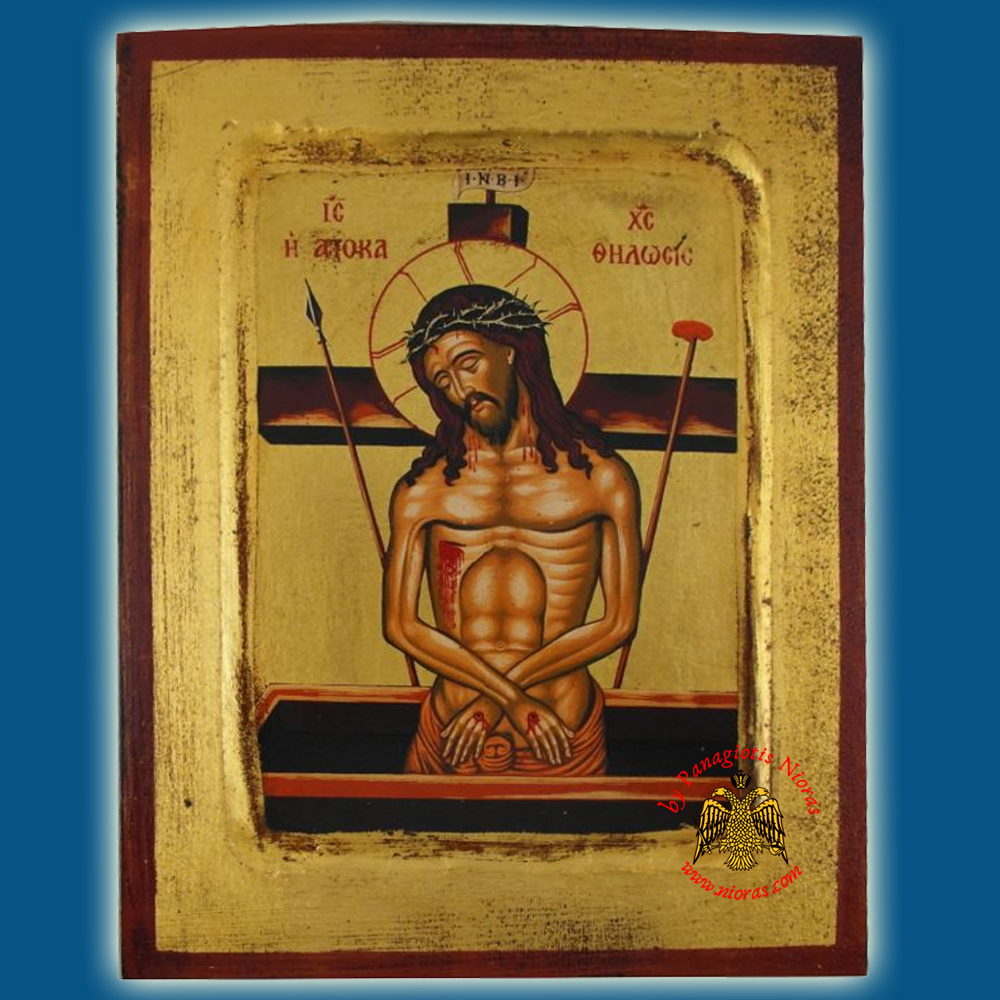 Christ The Deposition Byzantine Wooden Icon on Canvas