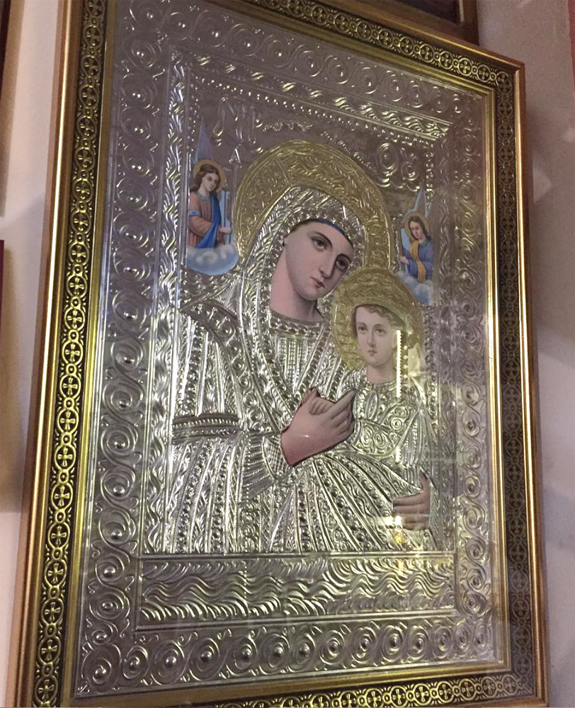 Orthodox Church Holy Icon of Theotokos Angels Panagia with Glass Wooden Frame