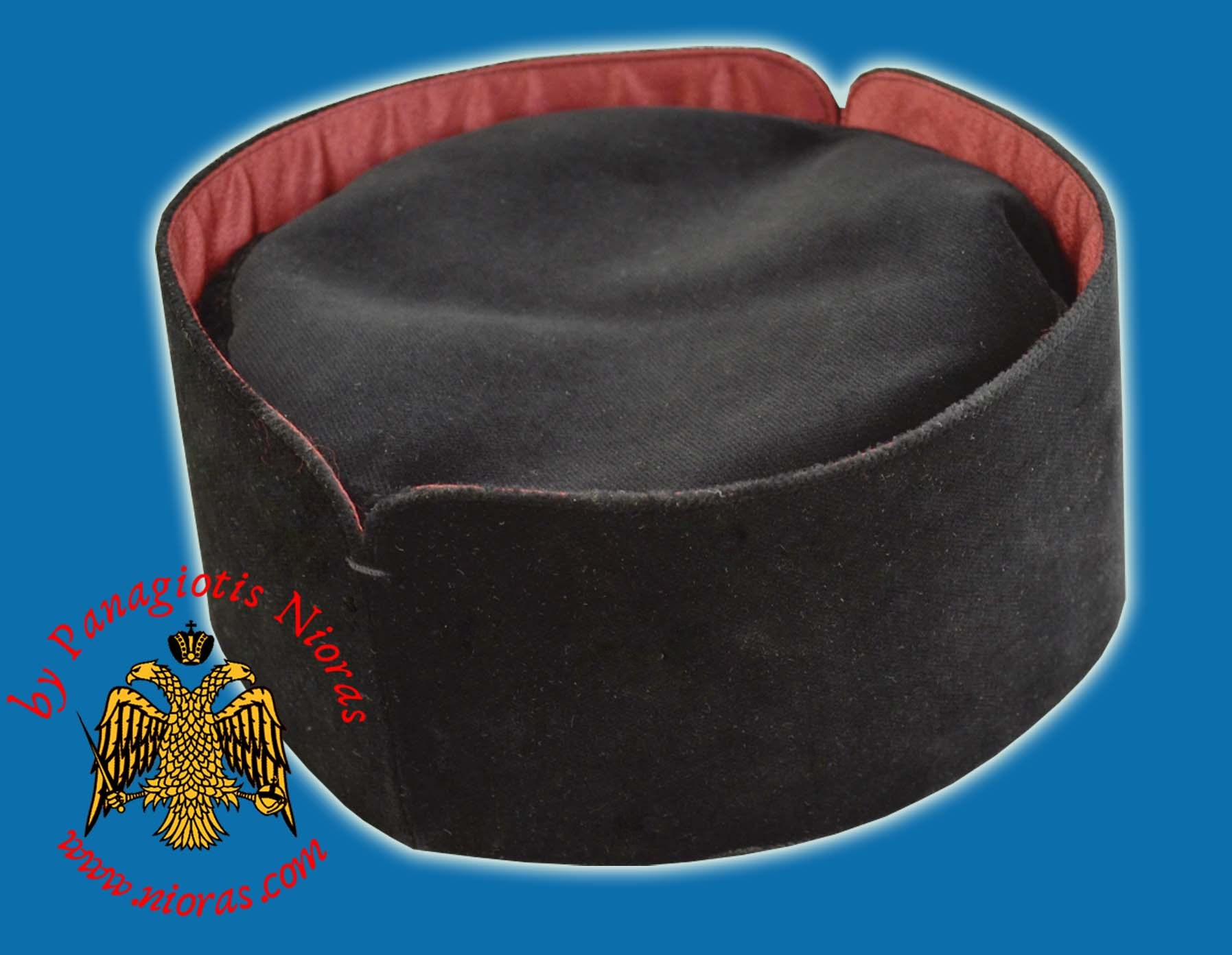 Orthodox Clerical Hat - Kalpaki Soft - Velvet With Red Linner
