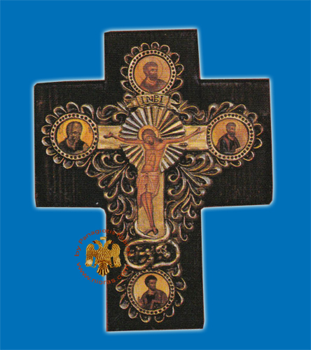Cross Byzantine Paper On Wood Evangelists Representations 24x30cm