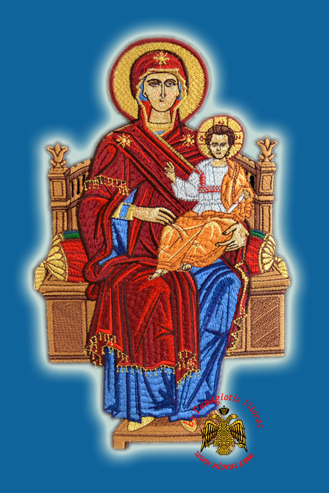Orthodox Embroidery with Holy Virgin Mary Enthroned 22cm