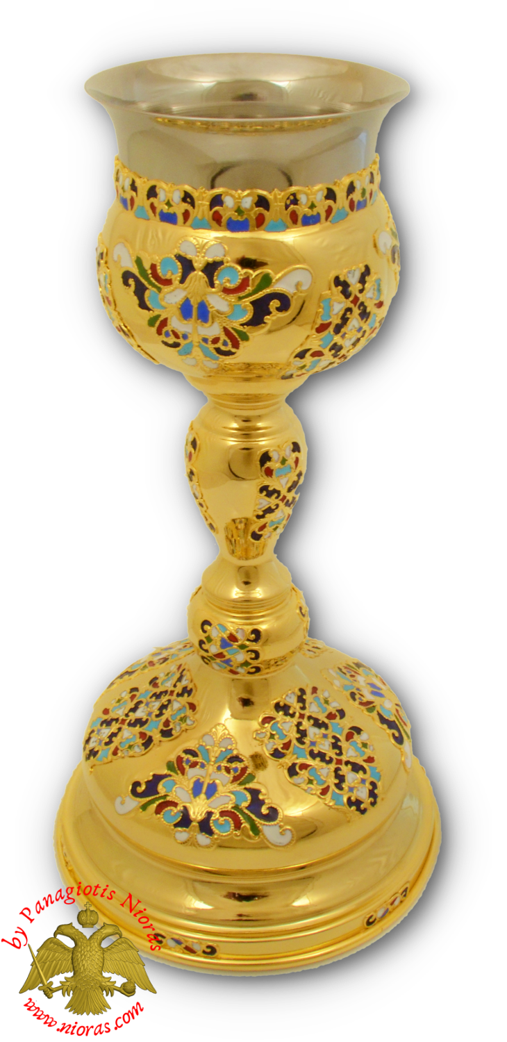 Byzantine Chalice Cup with Enamel Motives B Gold Plated 30x15cm