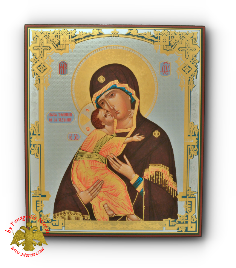 Russian Orthodox Holy Virgin Mary Sweet Kissing Vladimir Silver Print Wooden Icon 33x40cm