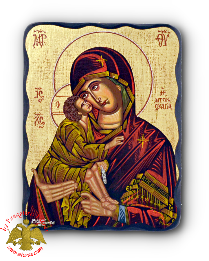 Hagiography Icon Panagia Sweet Kissing on Natural Carved Wood 19x25cm