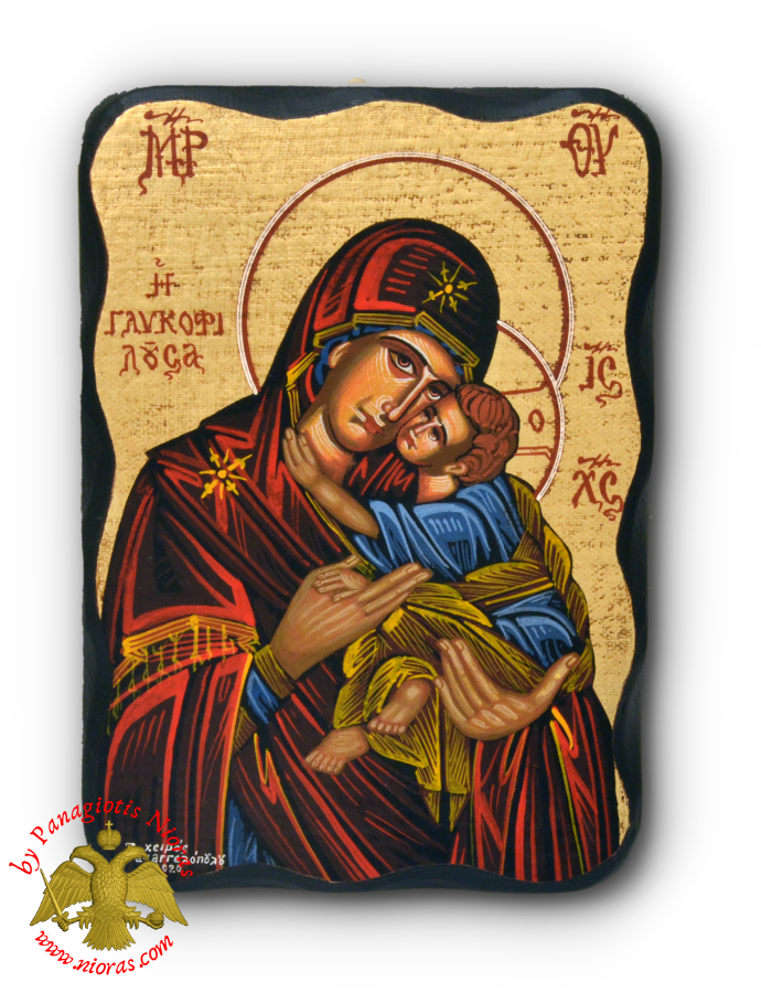 Hagiography Icon Panagia Sweet Kissing on Natural Carved Wood 14x20cm