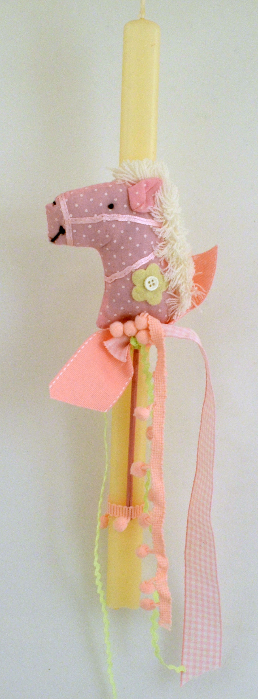Easter Lampada Candle Kids with Toy Fabric Horse 40cm