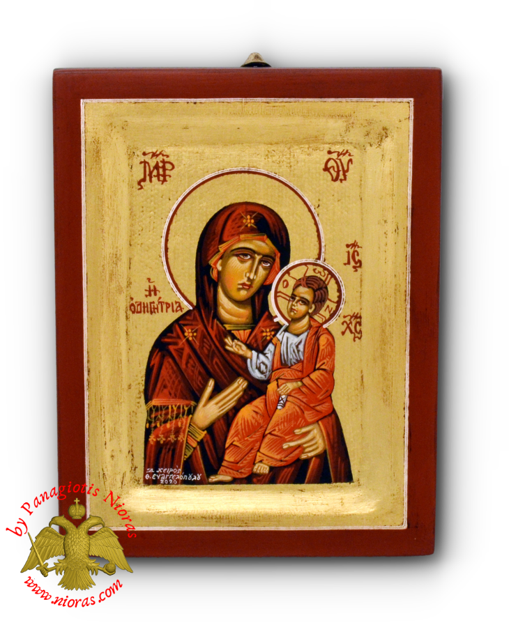 Hagiography Icon Panagia Hodegetria on Natural Framed Wood 14x18cm