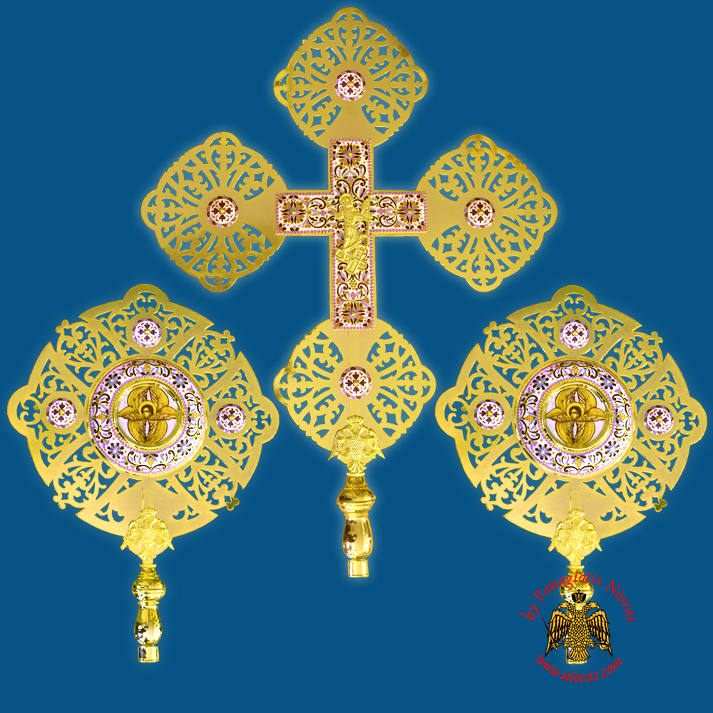 Ecclesiastical Exapterigon with Enamel A' Set of 3