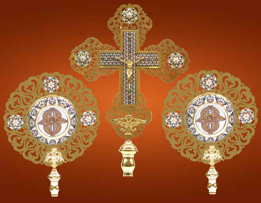 Ecclesiastical Exapterigon with Enamel Motives ONLY CROSS