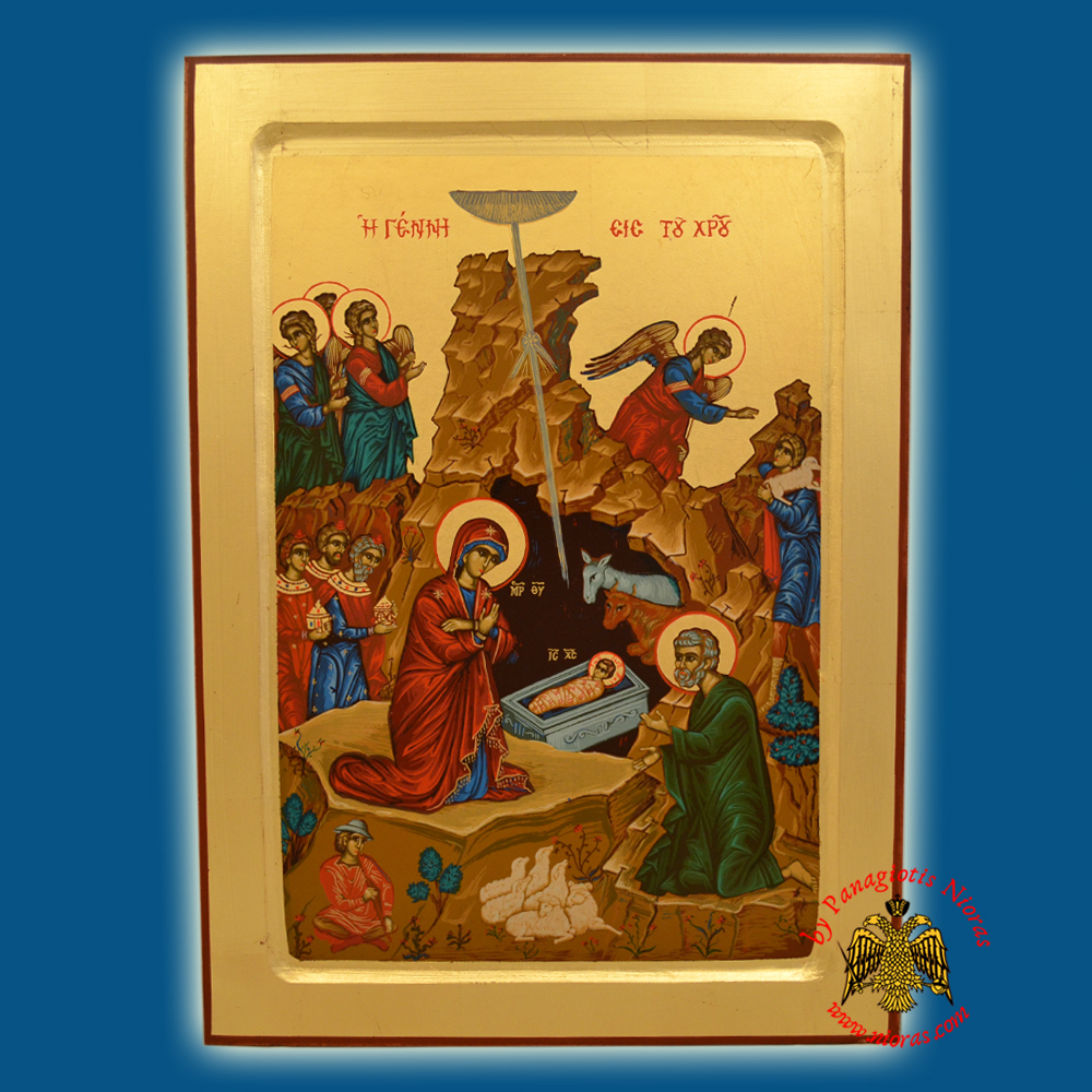 Christ The Nativity Byzantine Wooden Icon on Canvas
