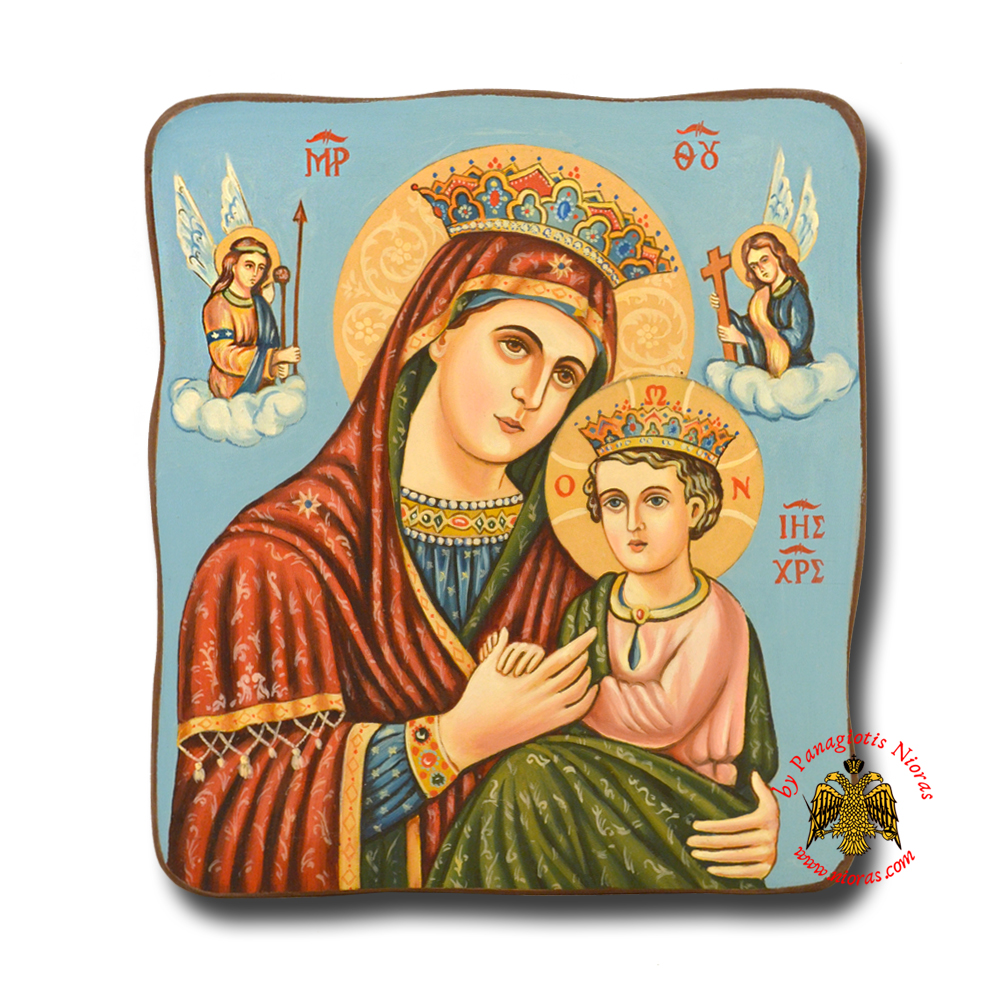 Hagiography Byzantine Hand Painted Icon Holy Virgin Mary Theotokos of Angels <b> Special Order Request </b>