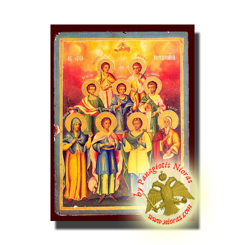 Holy Seven Maccabees Martyrs - NeoClassical Art Orthodox Wooden Icon