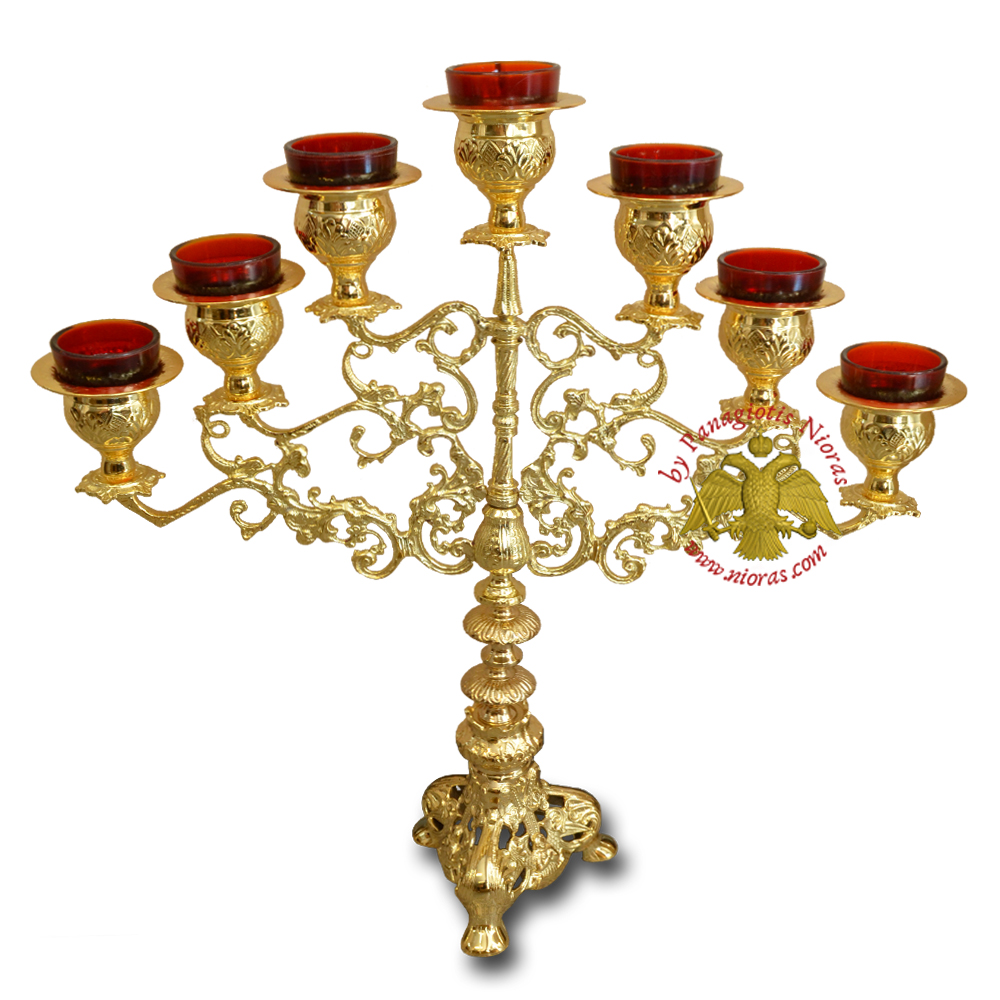 Holy Table Seven Branch Oil Lamp Candle Gold Plated