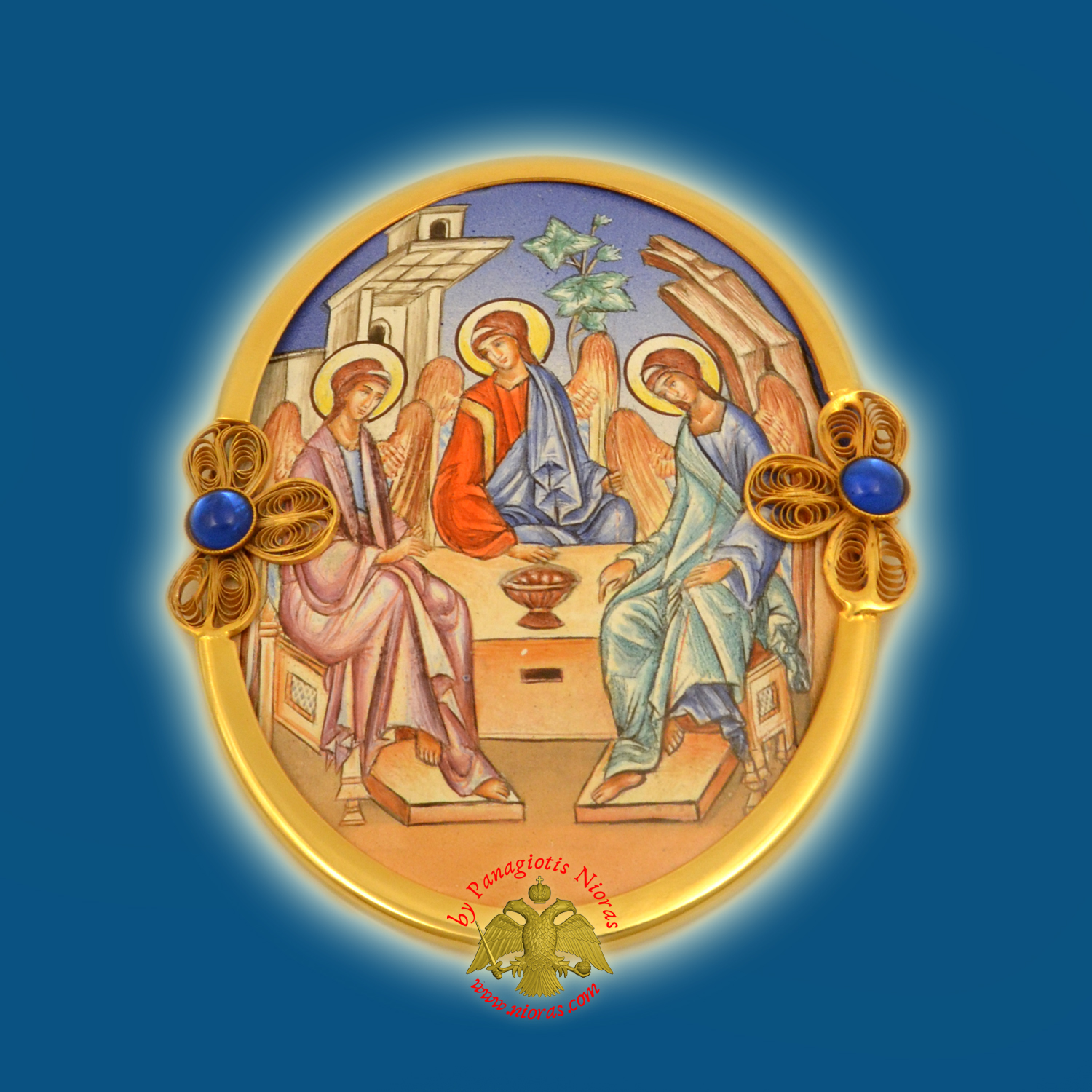 Russian Enamel Holy Trinity Icon of Andrew Rublev