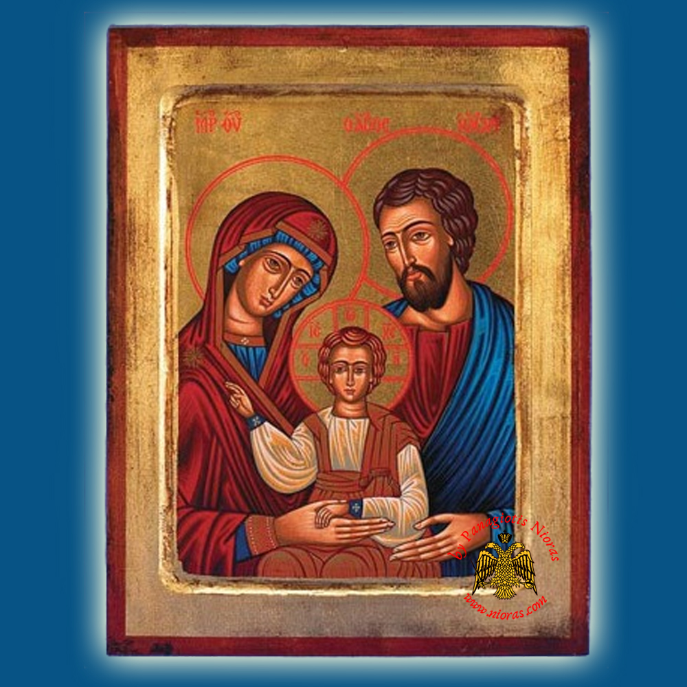 Christ The Holy Family Byzantine Wooden Icon on Canvas