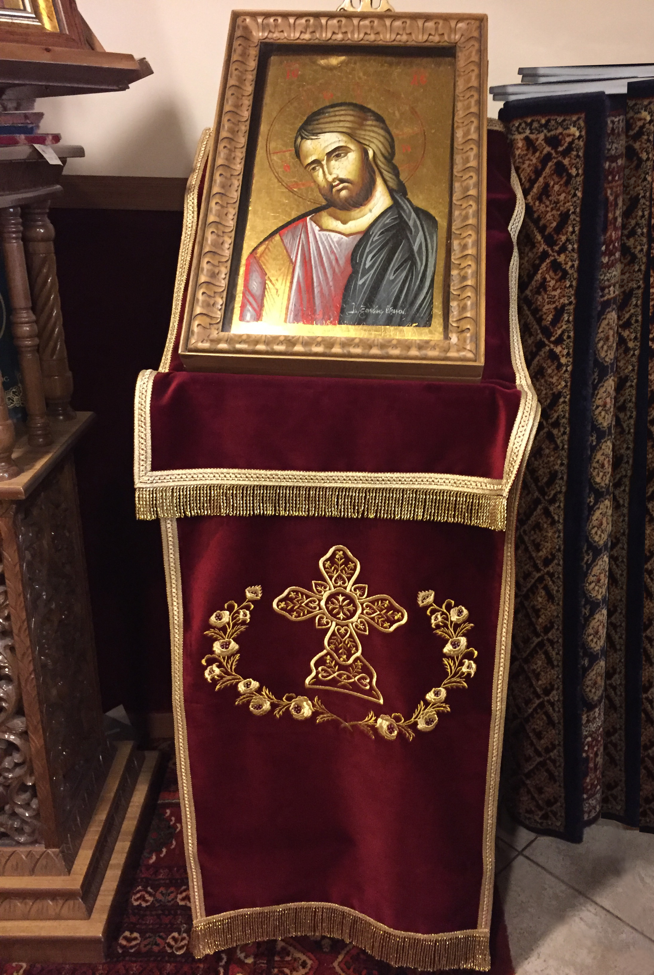 Orthodox Icon Stand Velvet Cover With Gold Knitting Cross