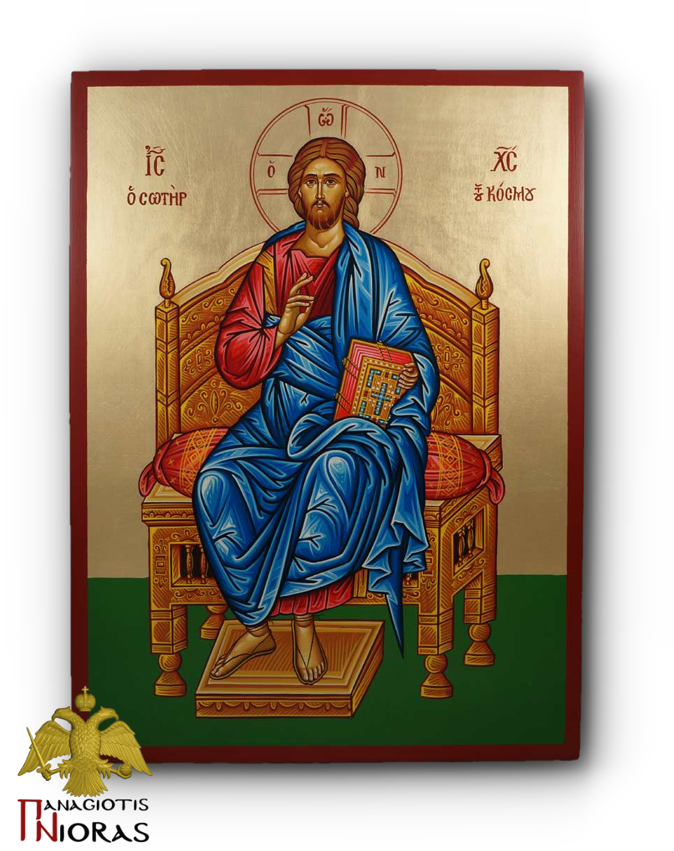 Hagiography Jesus Christ Enthroned Byzantine Holy Icon 30x40cm