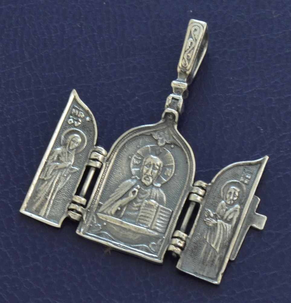 Neckwear Byzantine Triptych Pendant with Christ and Cross Silver 925 M014