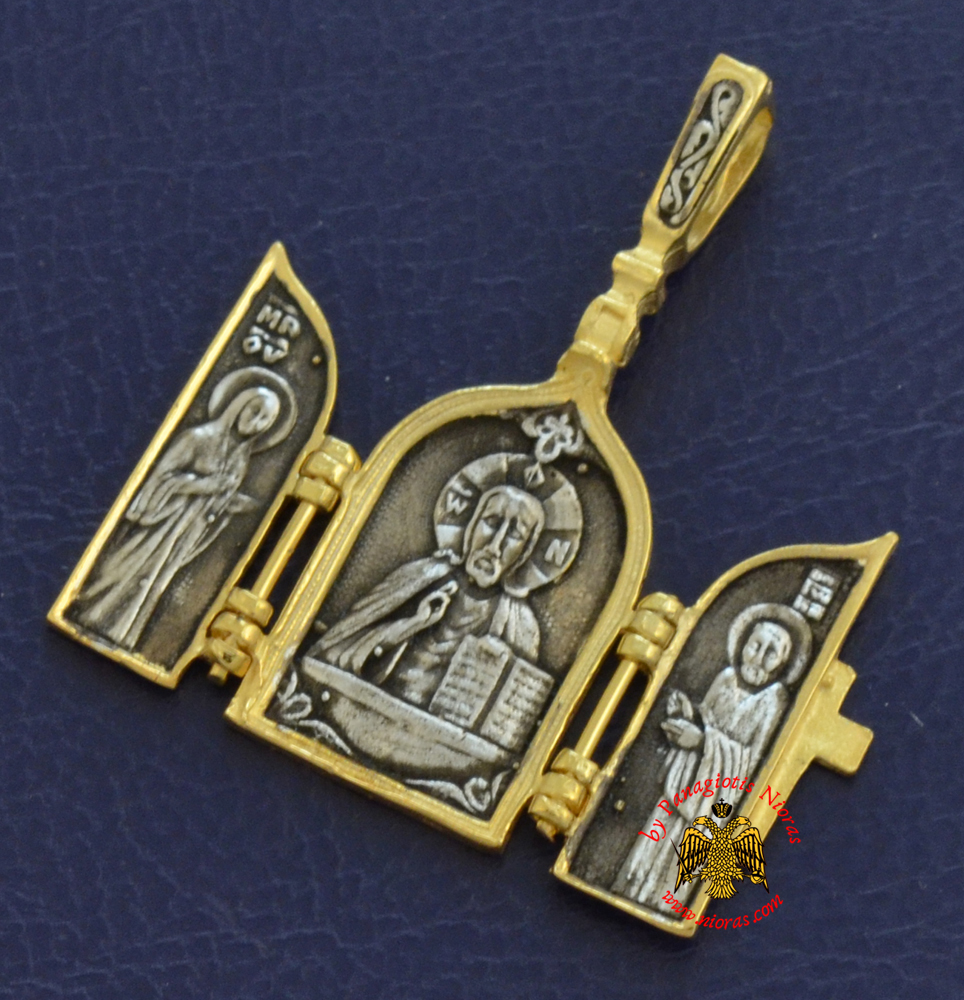 Neckwear Byzantine Triptych Pendant with Christ and Cross Silver 925 Gold Plated M014