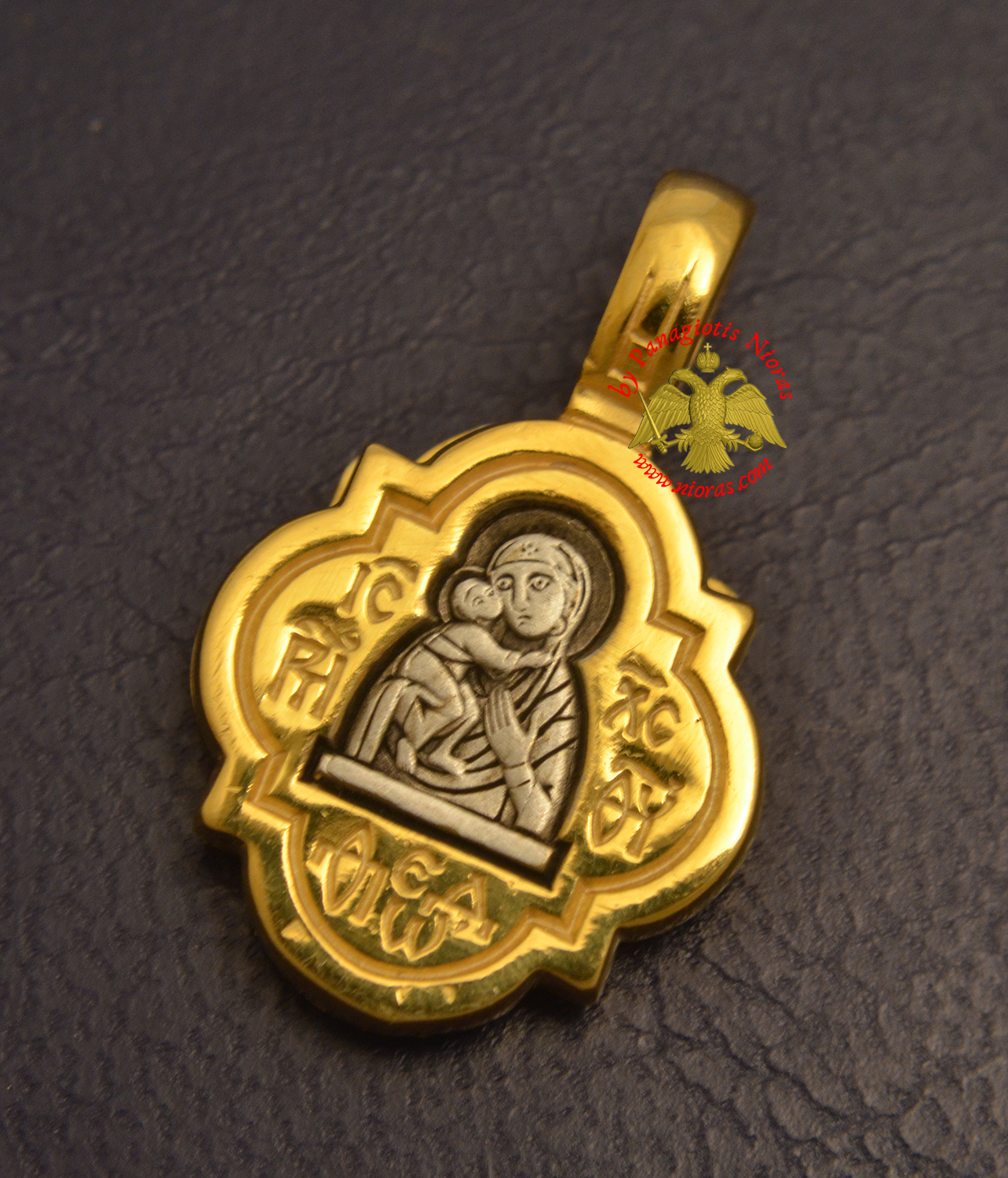Byzantine Orthodox Theotokos Locket Silver 925 Gold Plated for the Neck