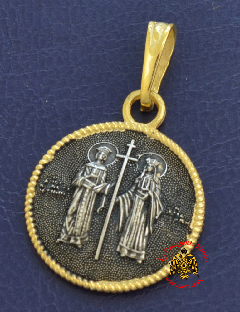 Neckwear Byzantine Pendant Saint Constantine and Helen Silver 925 Gold Plated M074