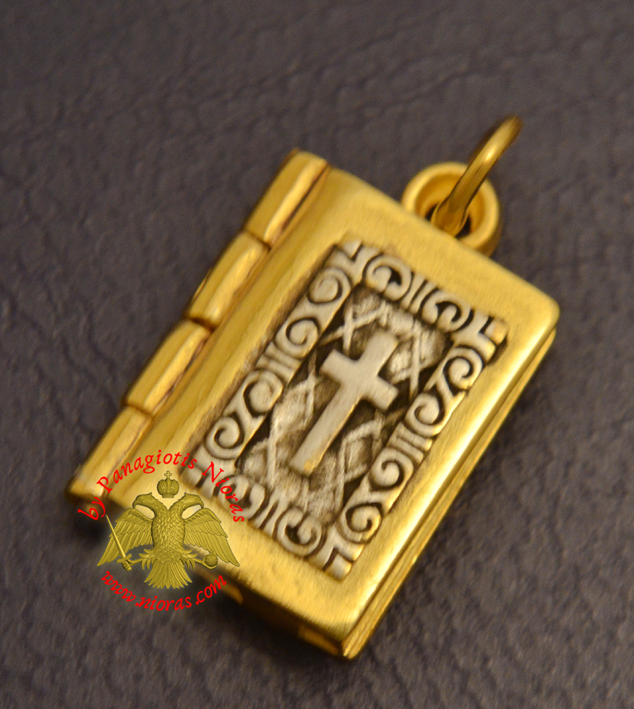 Byzantine Orthodox Gospel With Cross Locket Silver 925 Gold Plated for the Neck