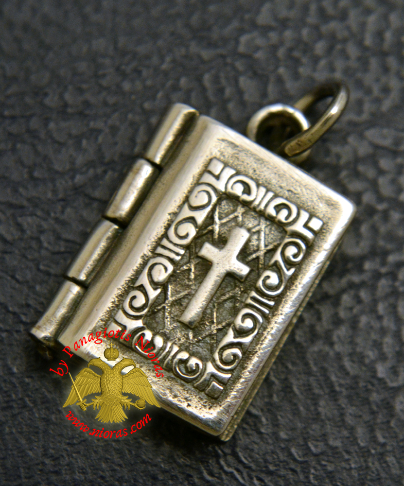 Byzantine Orthodox Gospel With Cross Locket Silver 925 for the Neck
