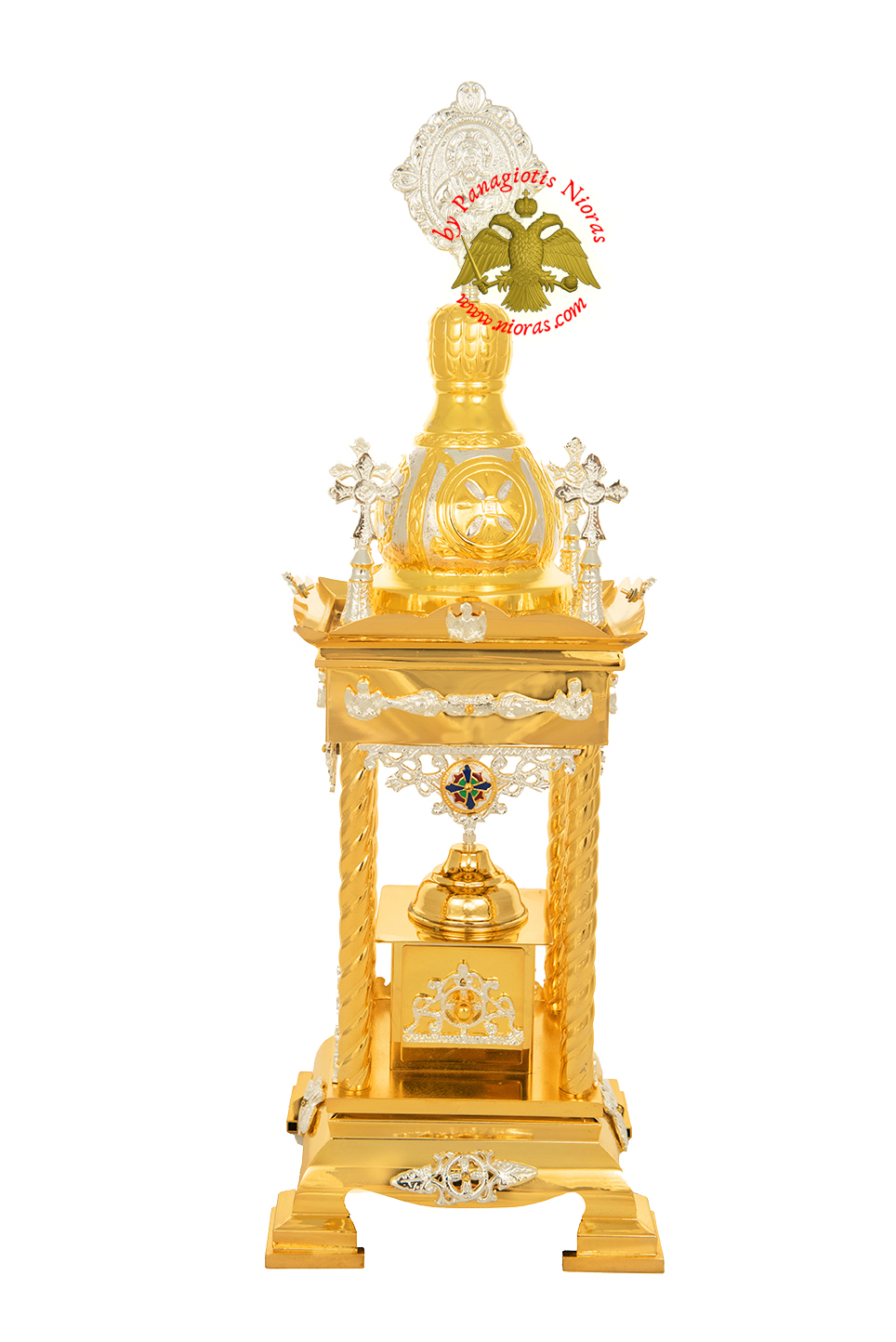 Holy Table Orthodox Tabernacle With Metal Decorations Gold and Silver Plated