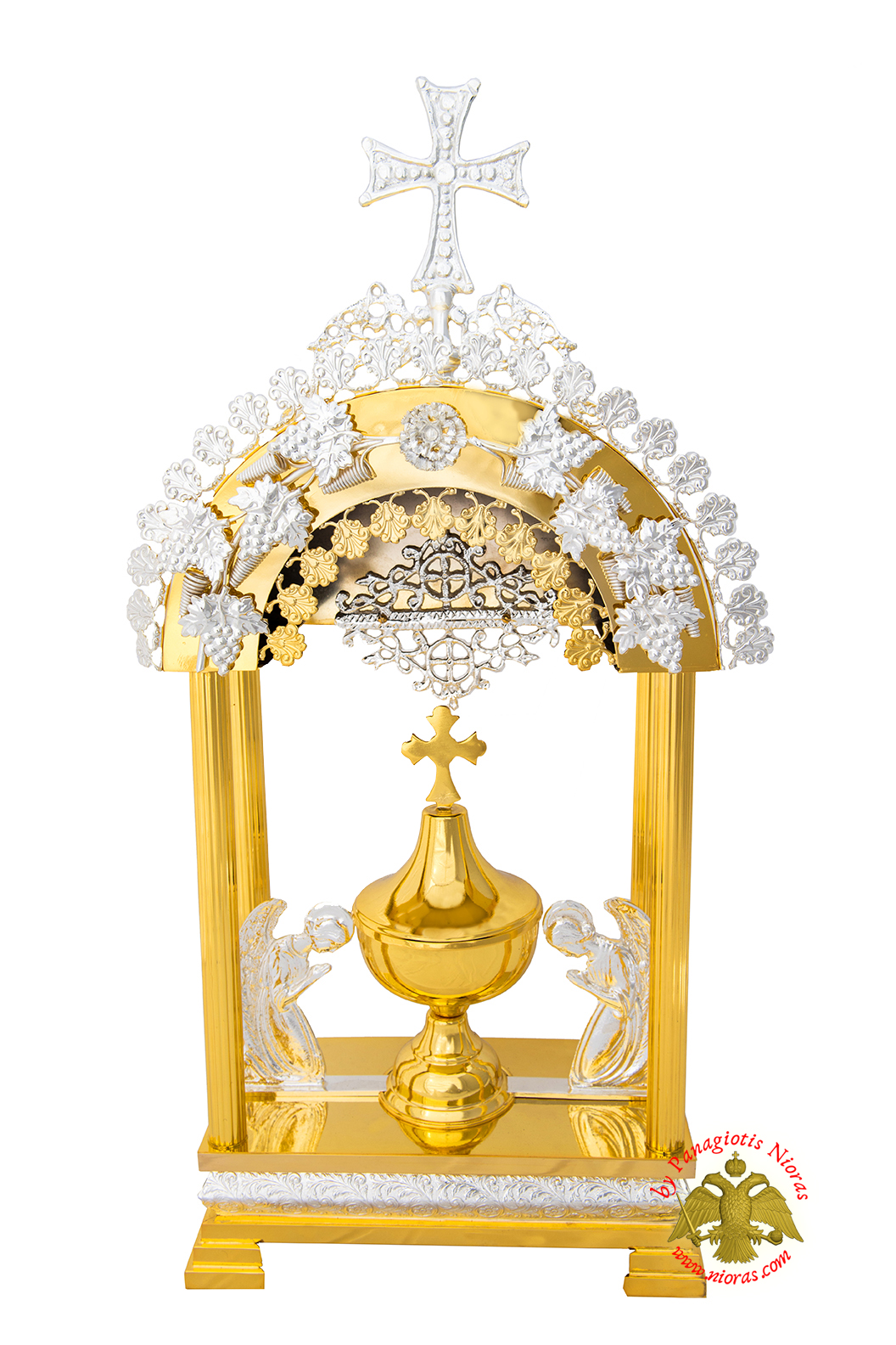 Holy Table Orthodox Tabernacle Arch with Angels Metal Decorations Gold and Silver Plated