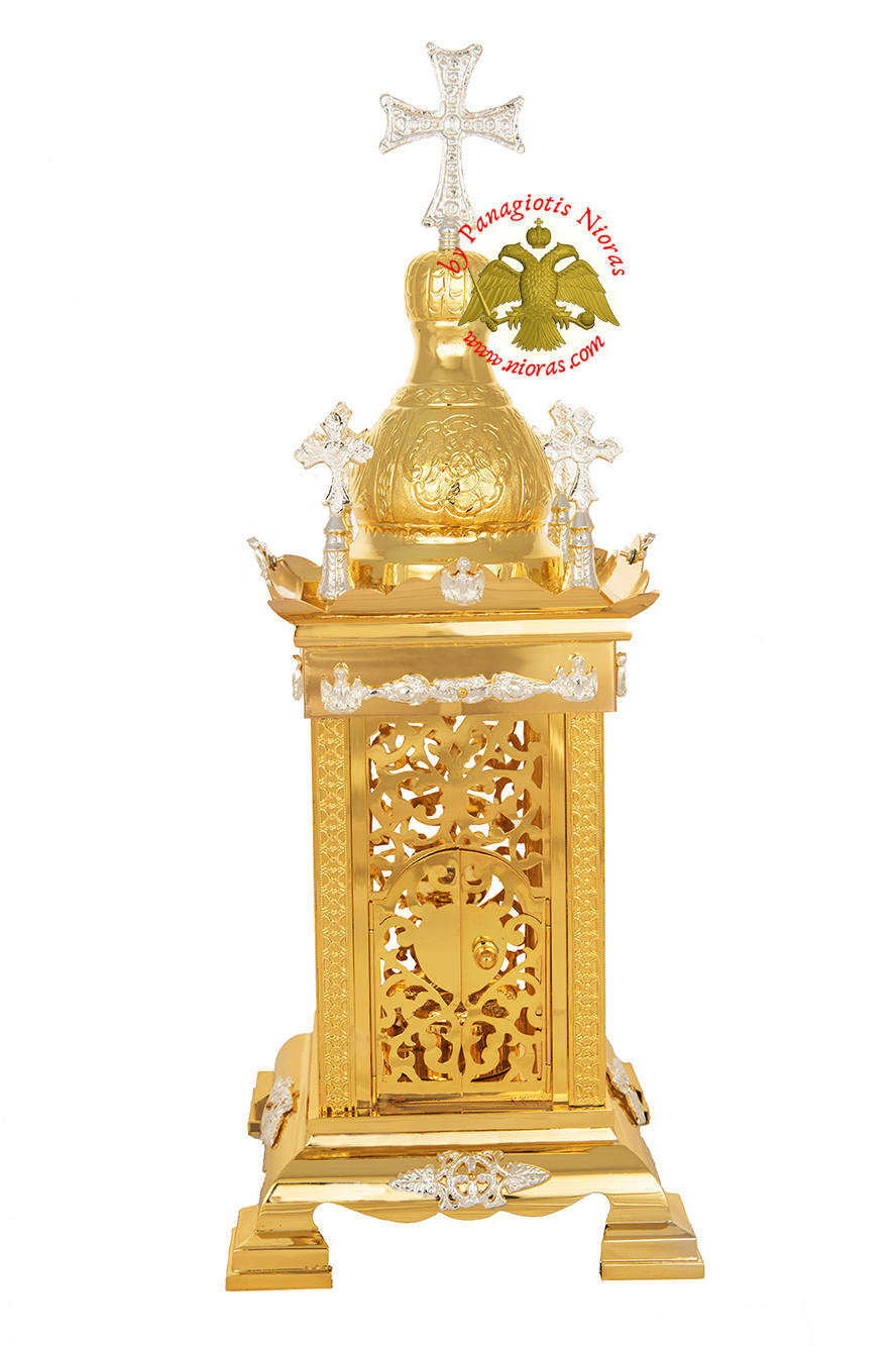 Holy Table Orthodox Tabernacle Hand Cut with Metal Decorations Gold and Silver Plated