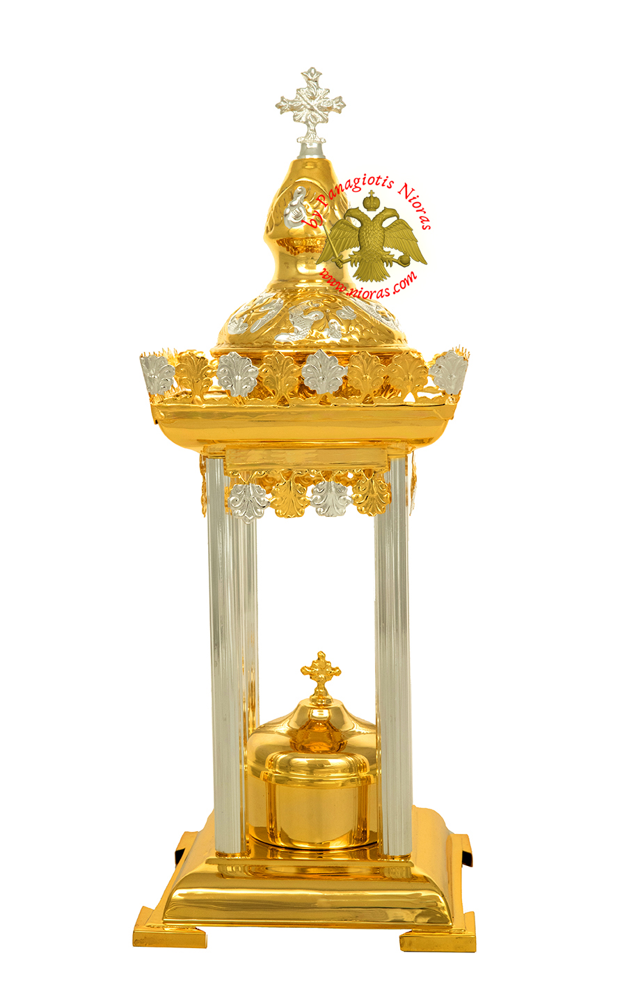 Holy Table Orthodox Tabernacle Small with Colums Metal Decorations Gold and Silver Plated