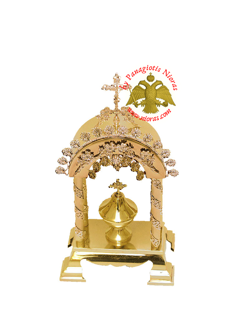 Holy Table Orthodox Tabernacle Arch Small with Colums Metal Decorations Gold and Silver Plated