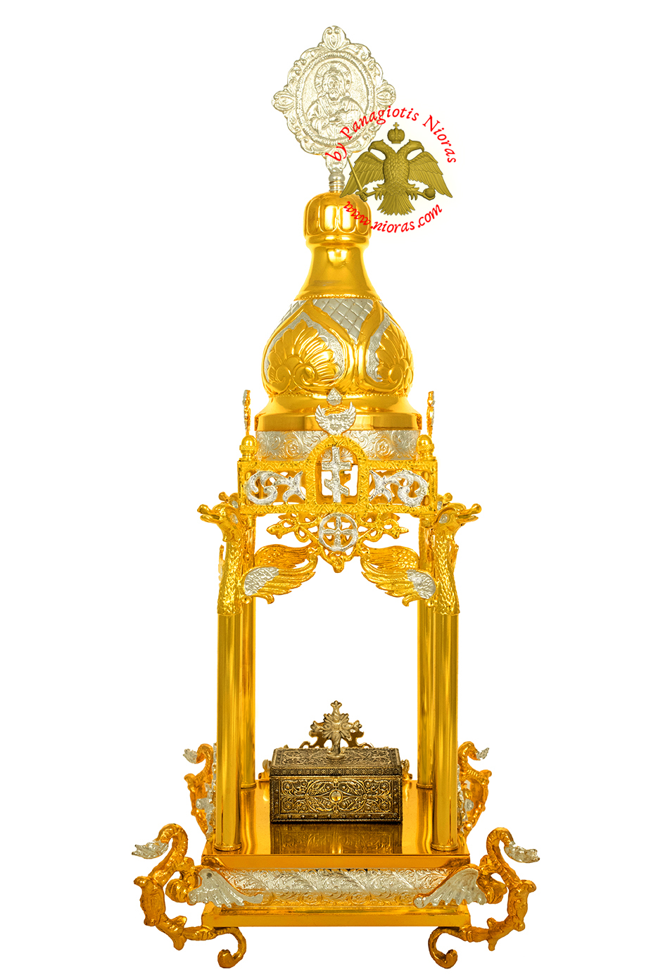 Holy Table Orthodox Tabernacle Columns with Dragons Metal Decorations Gold and Silver Plated