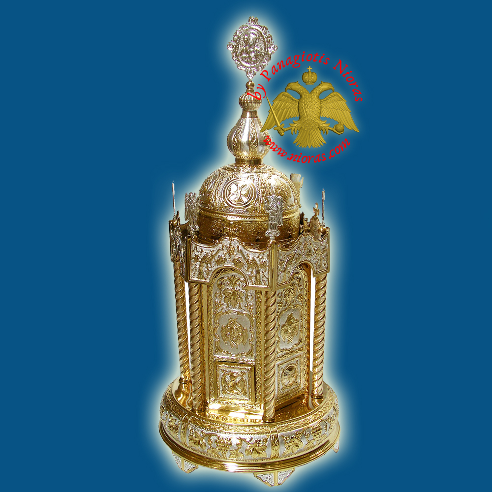 Holy Table Orthodox Tabernacle With Angels Hexagon, Round Base Gold and Silver Plated