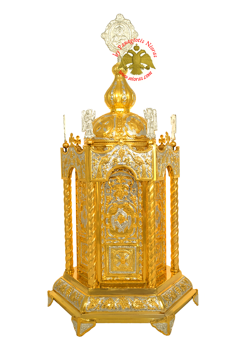 Holy Table Orthodox Tabernacle Hexagon With Angels Hexagon Base Gold and Silver Plated