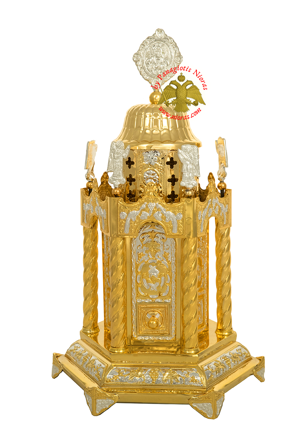 Holy Table Orthodox Tabernacle Hexagon Small With Angels Hexagon Base Gold and Silver Plated
