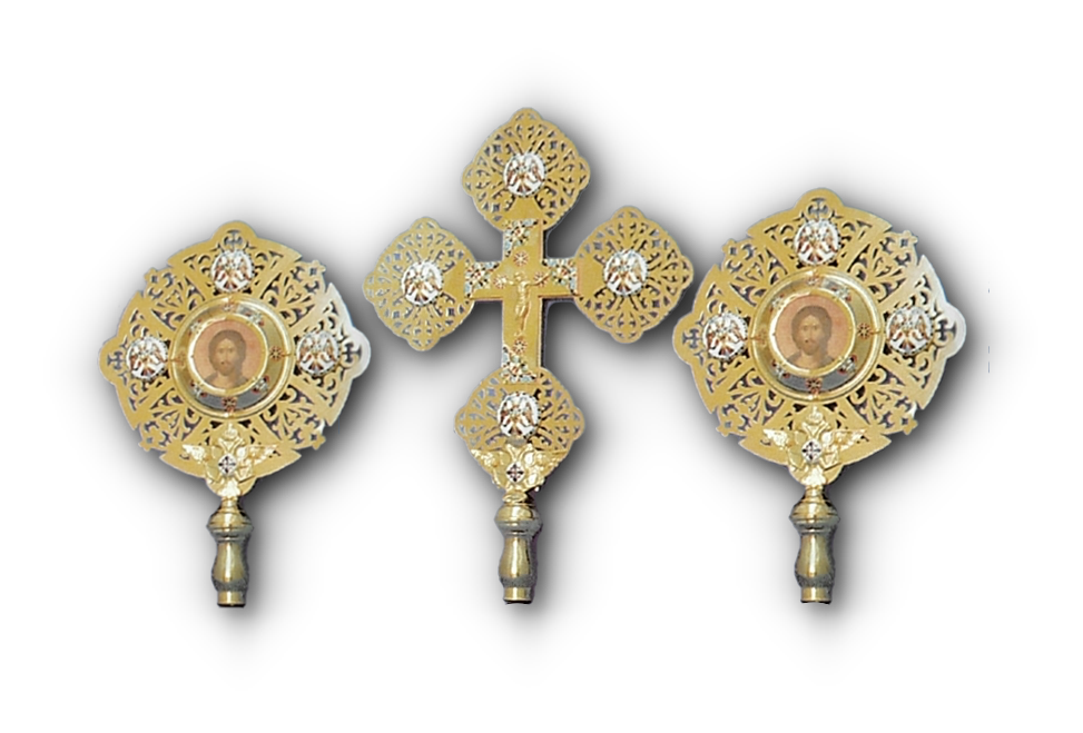 Ecclesiastical Cherubim Exapterigon Set of 3 With Enamel Details Set